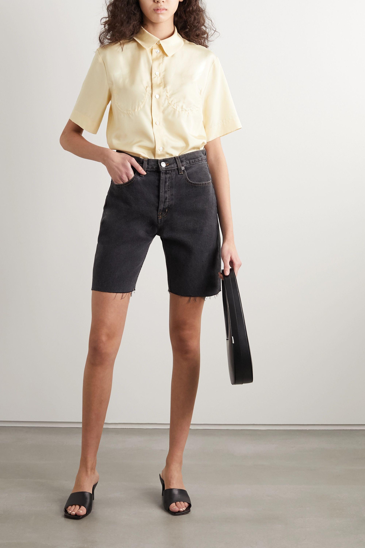 Still Here Tate striped denim shorts