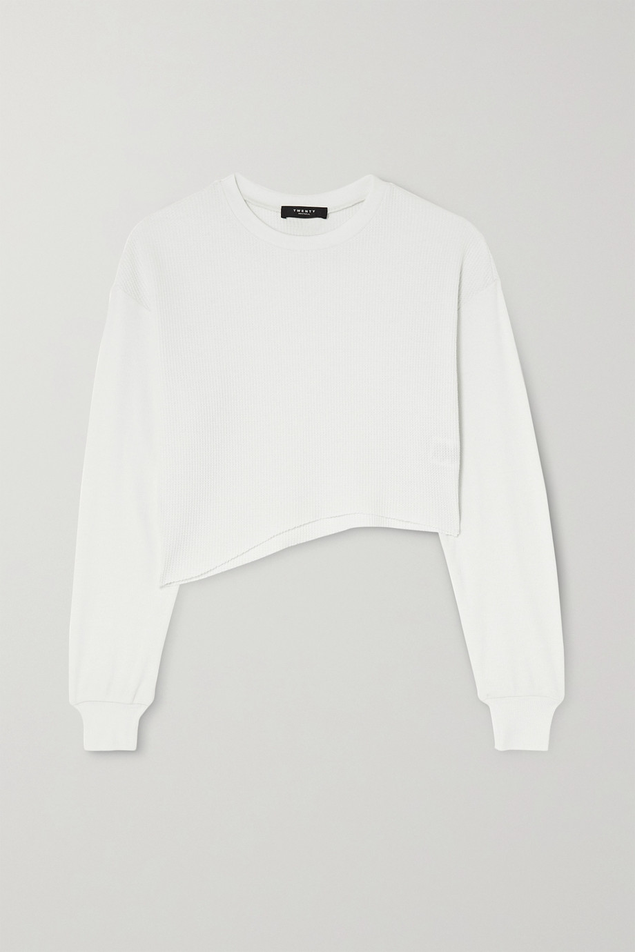 TWENTY Montréal Everest Thermal cropped asymmetric waffle-knit jersey top