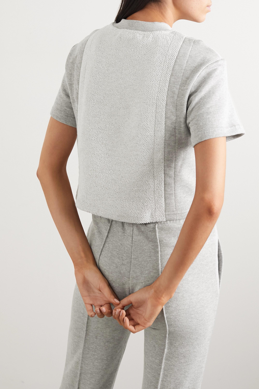 TWENTY Montréal Sunnyside cropped paneled mélange cotton-blend terry T-shirt