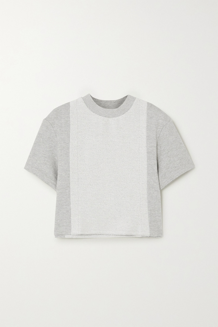 TWENTY Montréal Sunnyside cropped paneled mélange cotton-blend terry T-shirt