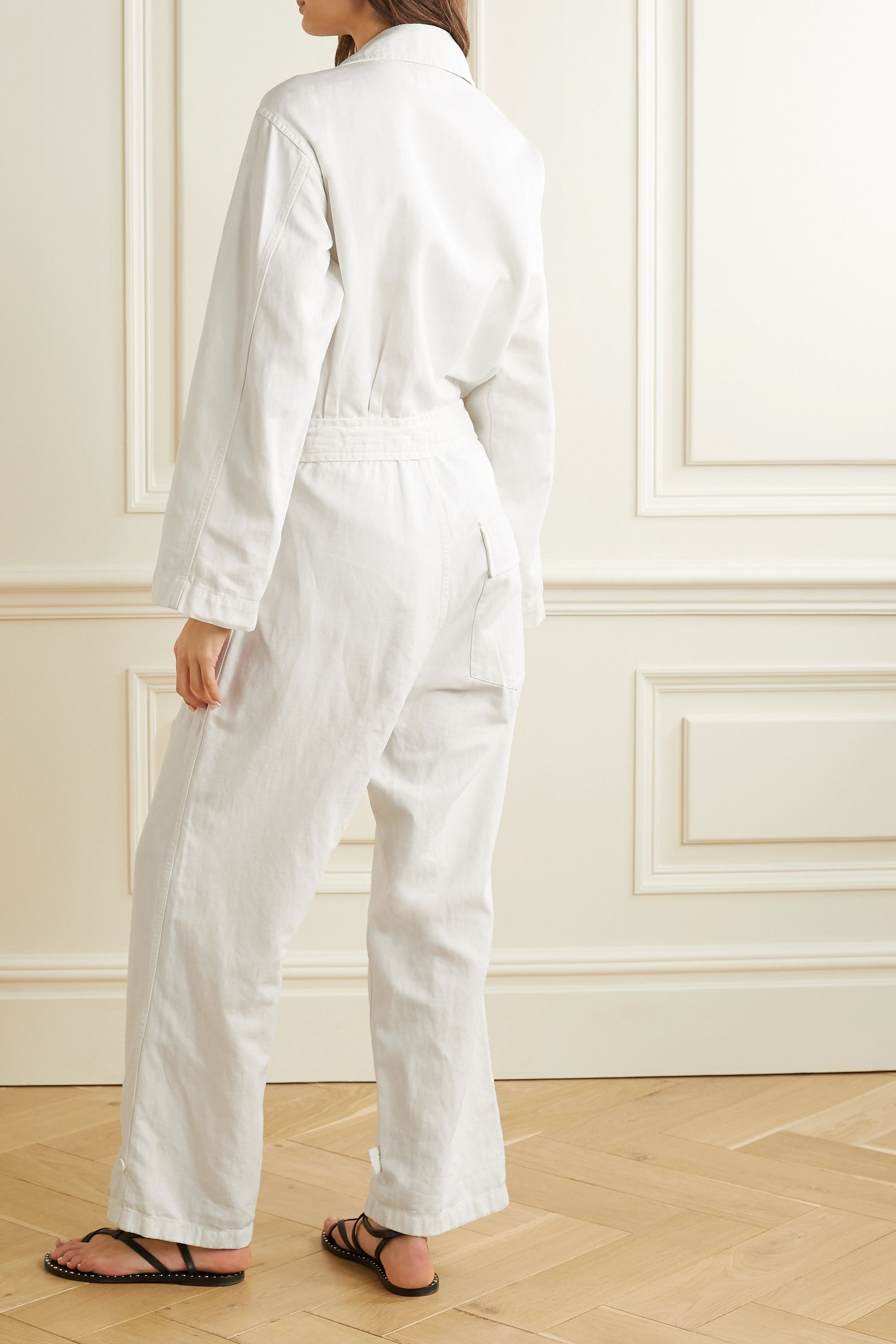 Nili Lotan Aria belted cotton and linen-blend twill jumpsuit