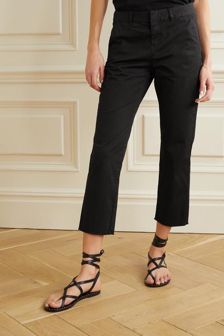 Montauk cropped frayed stretch-cotton twill slim-leg pants