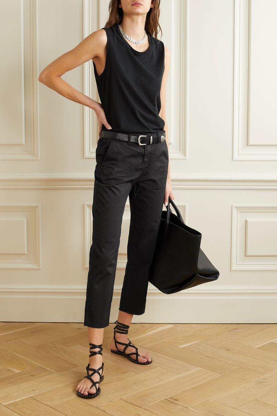 Nili Lotan Montauk cropped frayed stretch-cotton twill slim-leg pants