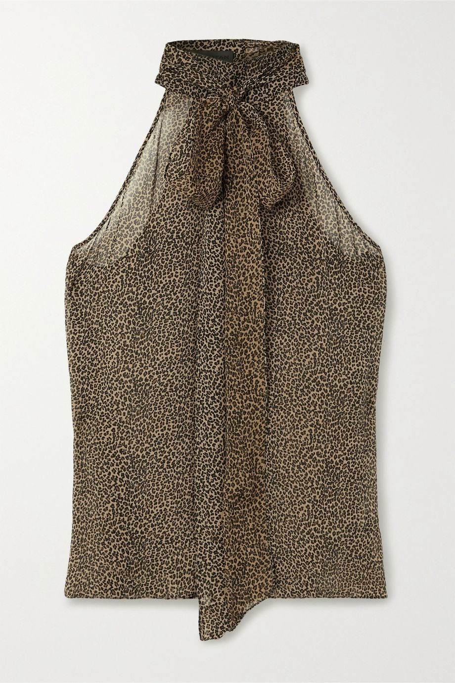 Nili Lotan Ceyda pussy-bow leopard-print silk crepe de chine halterneck top