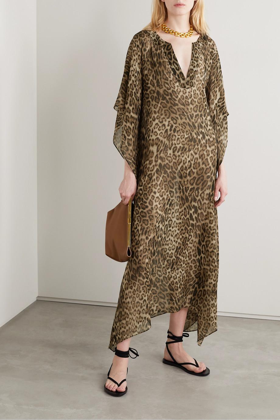 Nili Lotan Erica Kaftan aus Crêpe de Chine aus Seide mit Leopardenprint