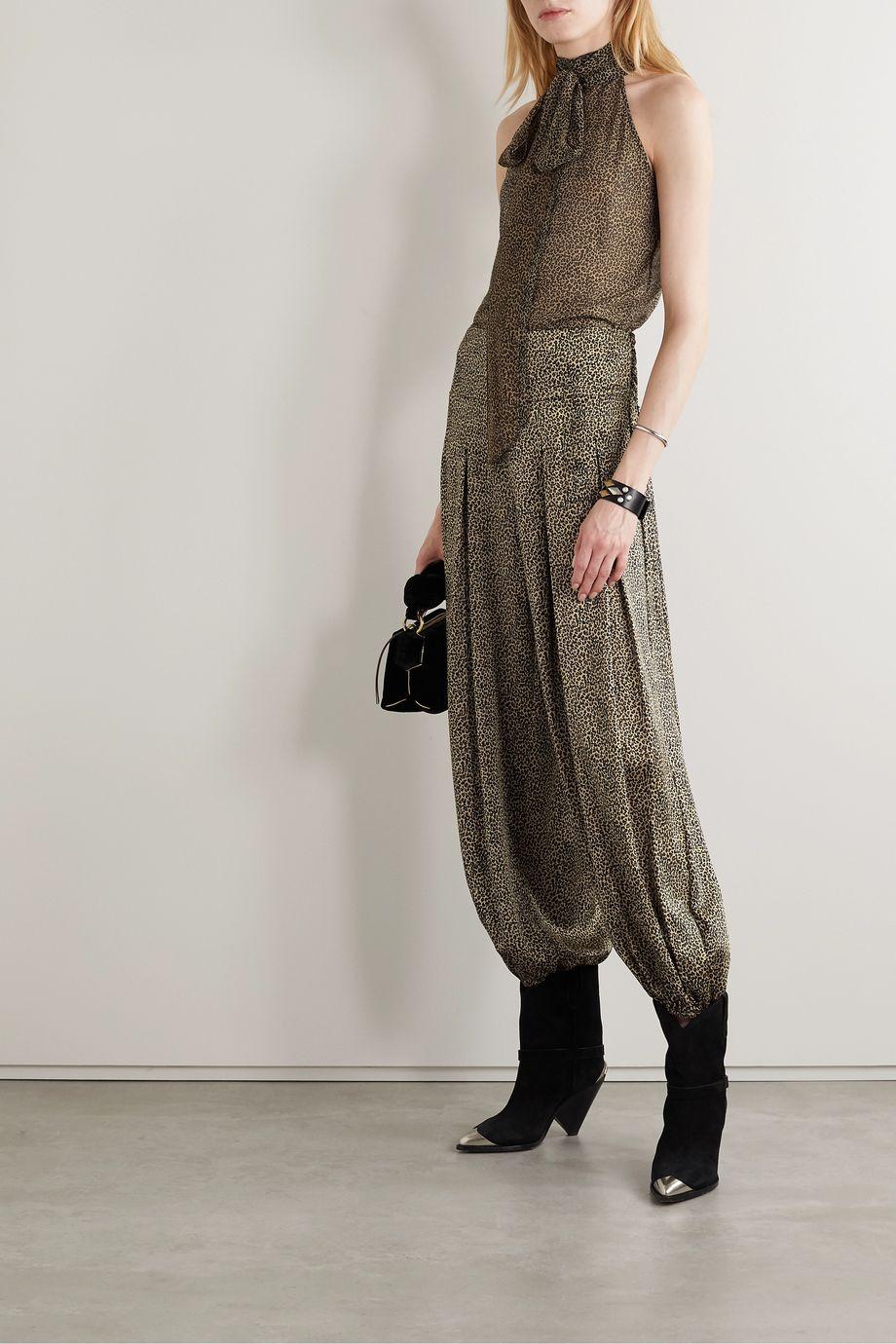 Nili Lotan Ibiza pleated leopard-print silk crepe de chine pants
