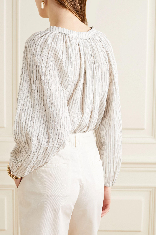 Nili Lotan Brooke gathered striped cotton-blend voile top