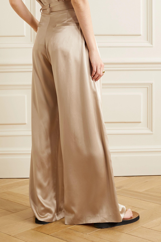 Nili Lotan Pantalon large en satin de soie Brixton