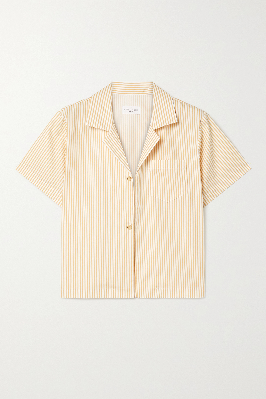 Still Here Havana striped cotton-poplin shirt