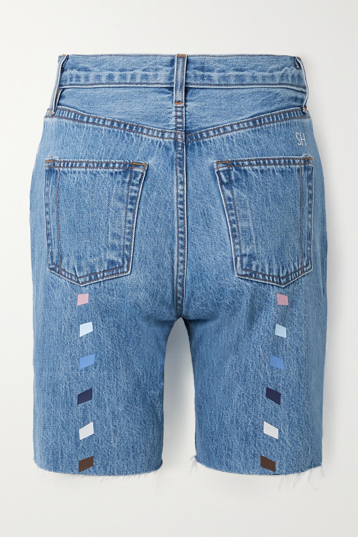 Still Here Tate printed frayed denim shorts