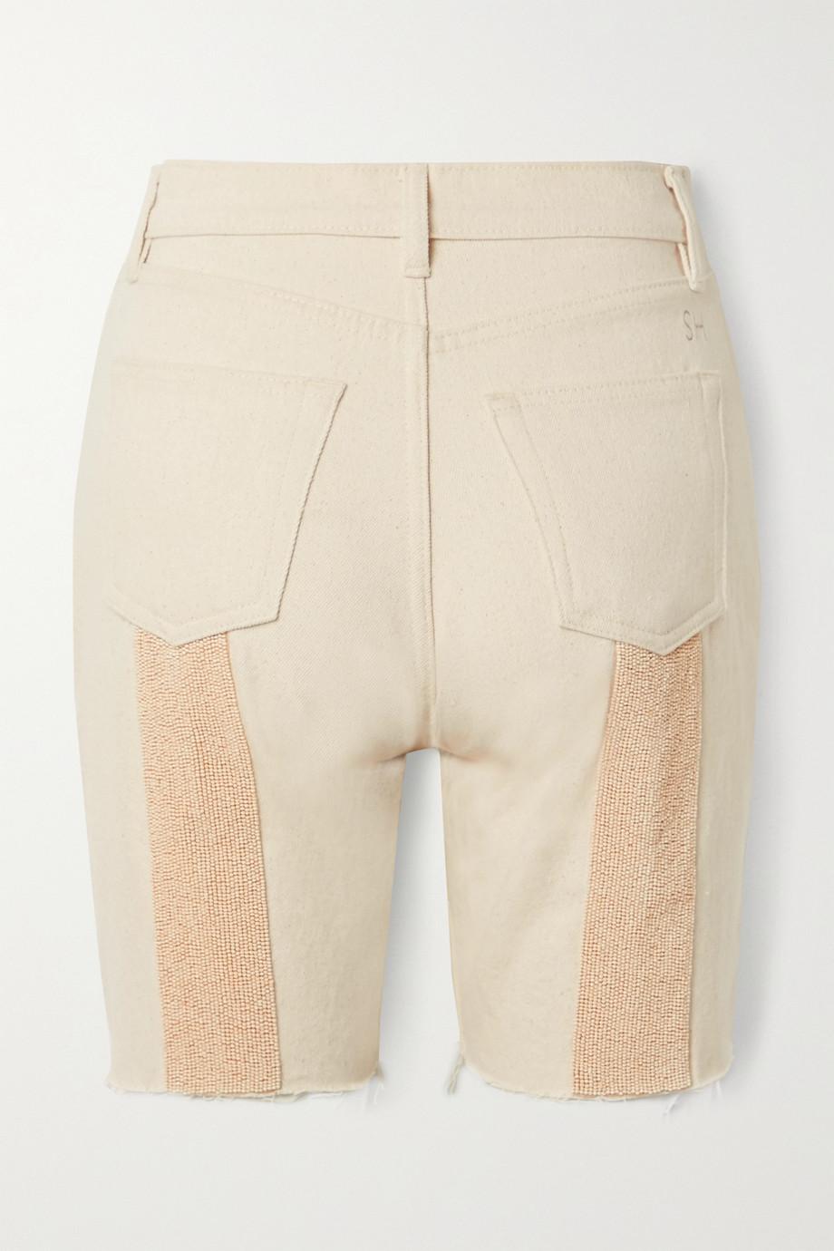 Still Here Tate beaded frayed denim shorts