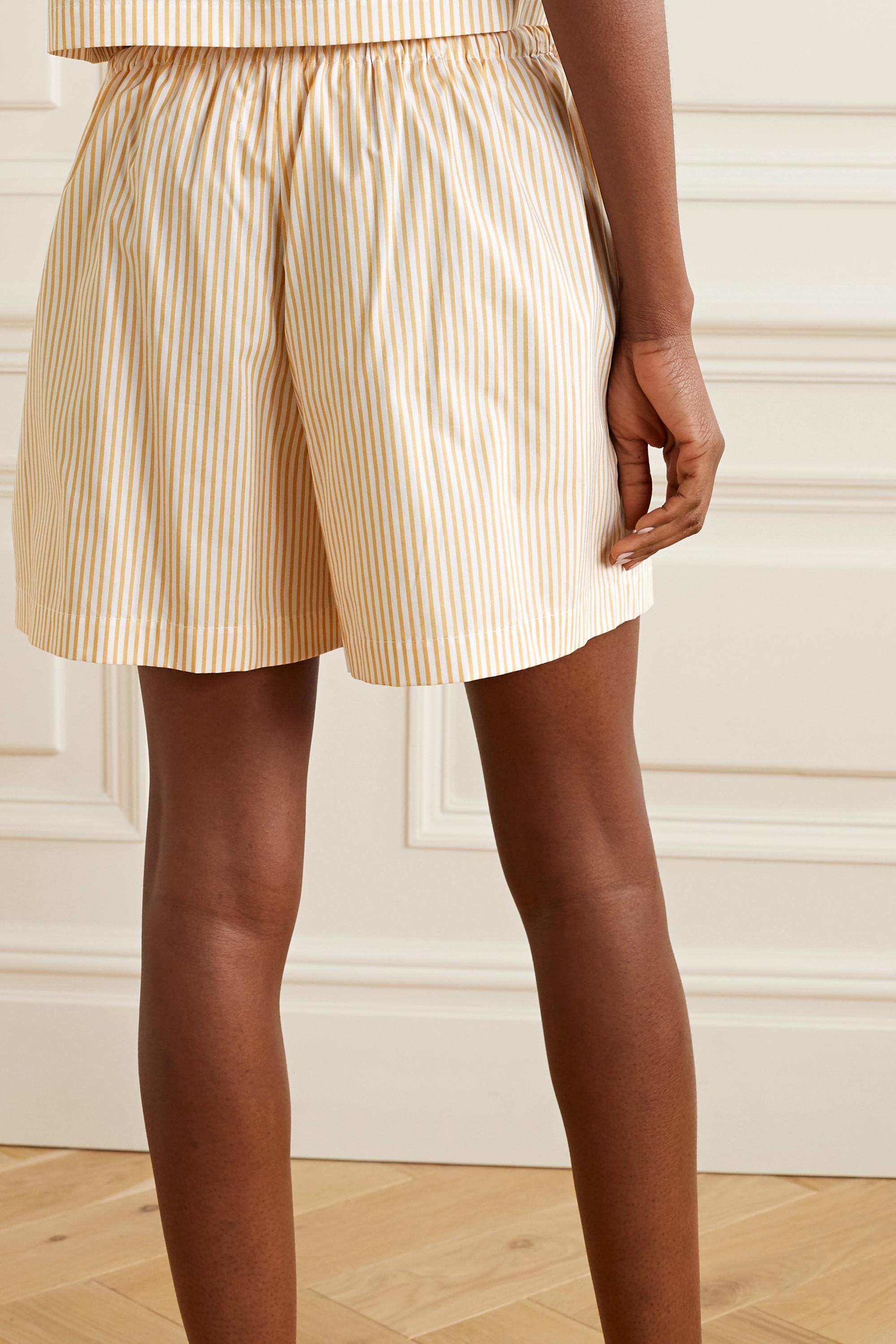 Still Here Scrunch striped cotton-poplin shorts