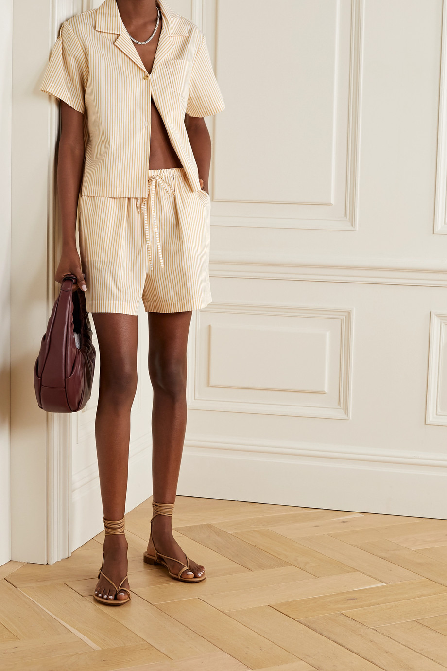 Still Here Scrunch striped cotton-poplin shorts