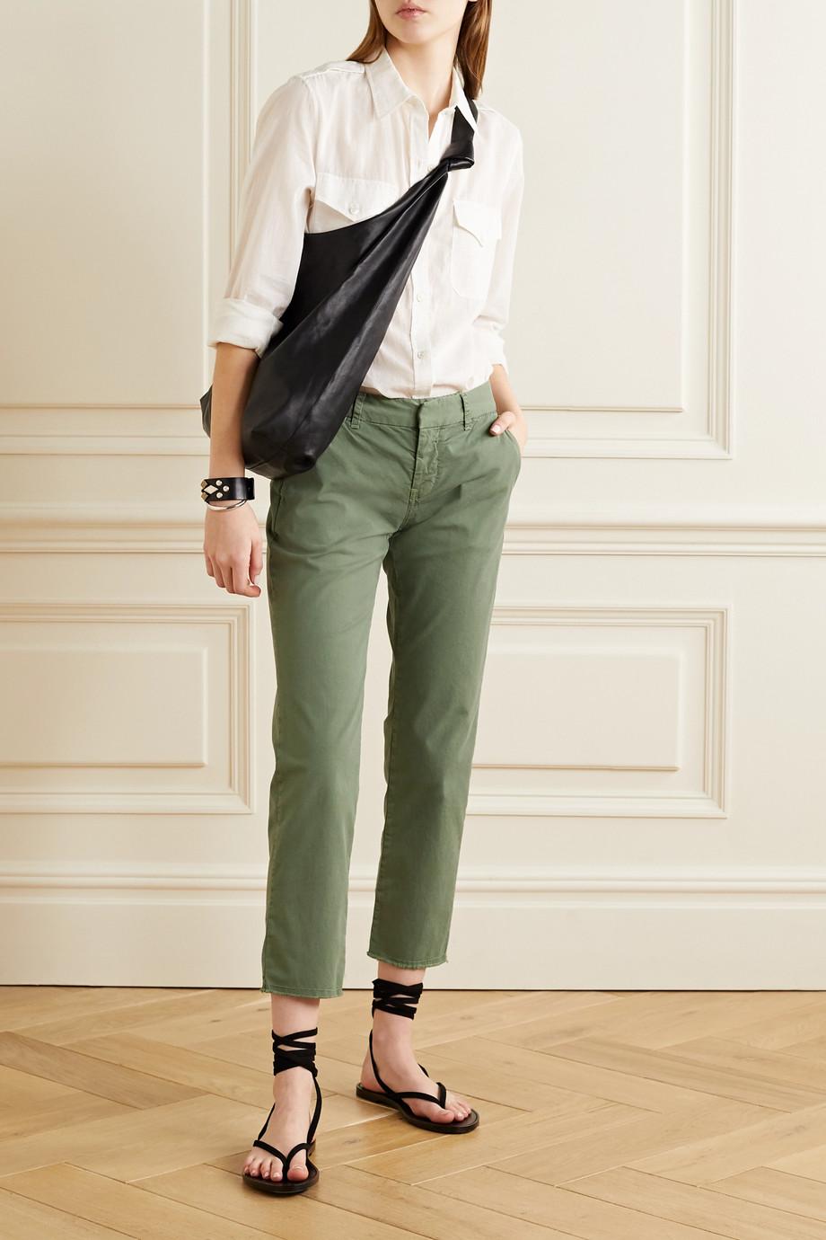 Nili Lotan East Hampton frayed stretch-cotton twill slim-leg pants