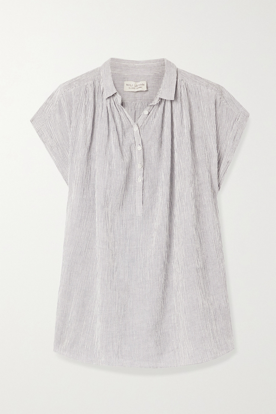 Nili Lotan Normandy striped cotton-voile blouse