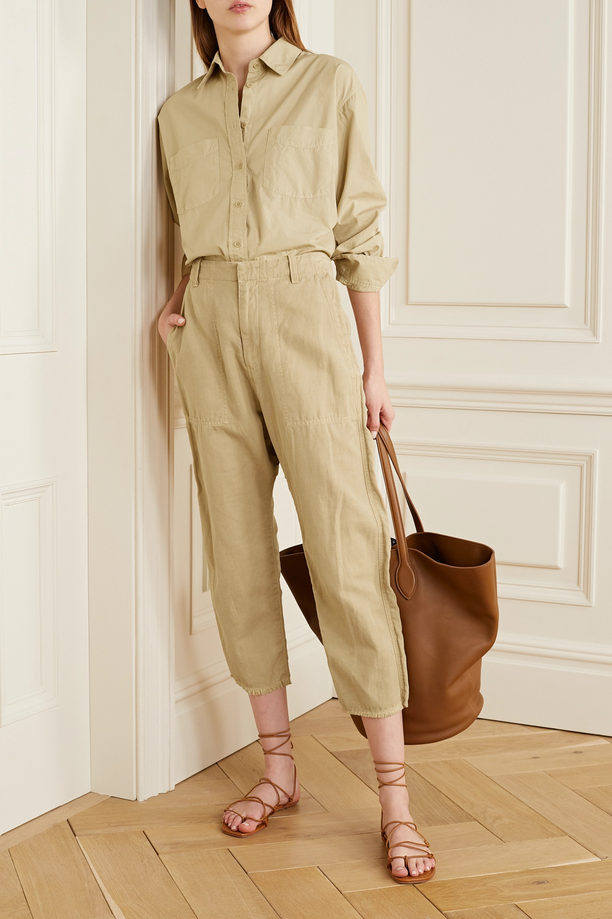 Nili Lotan Luna cropped cotton and linen-blend twill tapered pants
