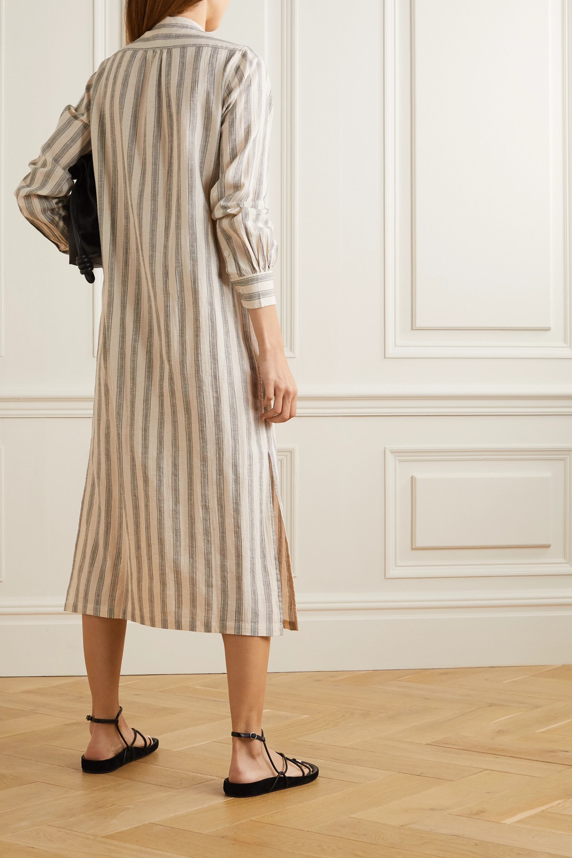 Nili Lotan Malia striped cotton and linen-blend midi shirt dress