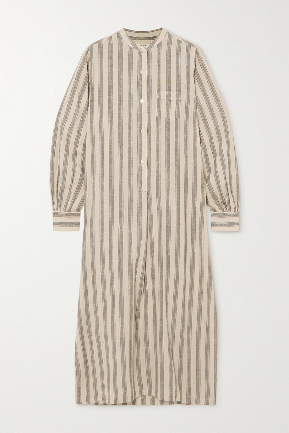 Nili Lotan Malia striped cotton and linen-blend midi shirt dress