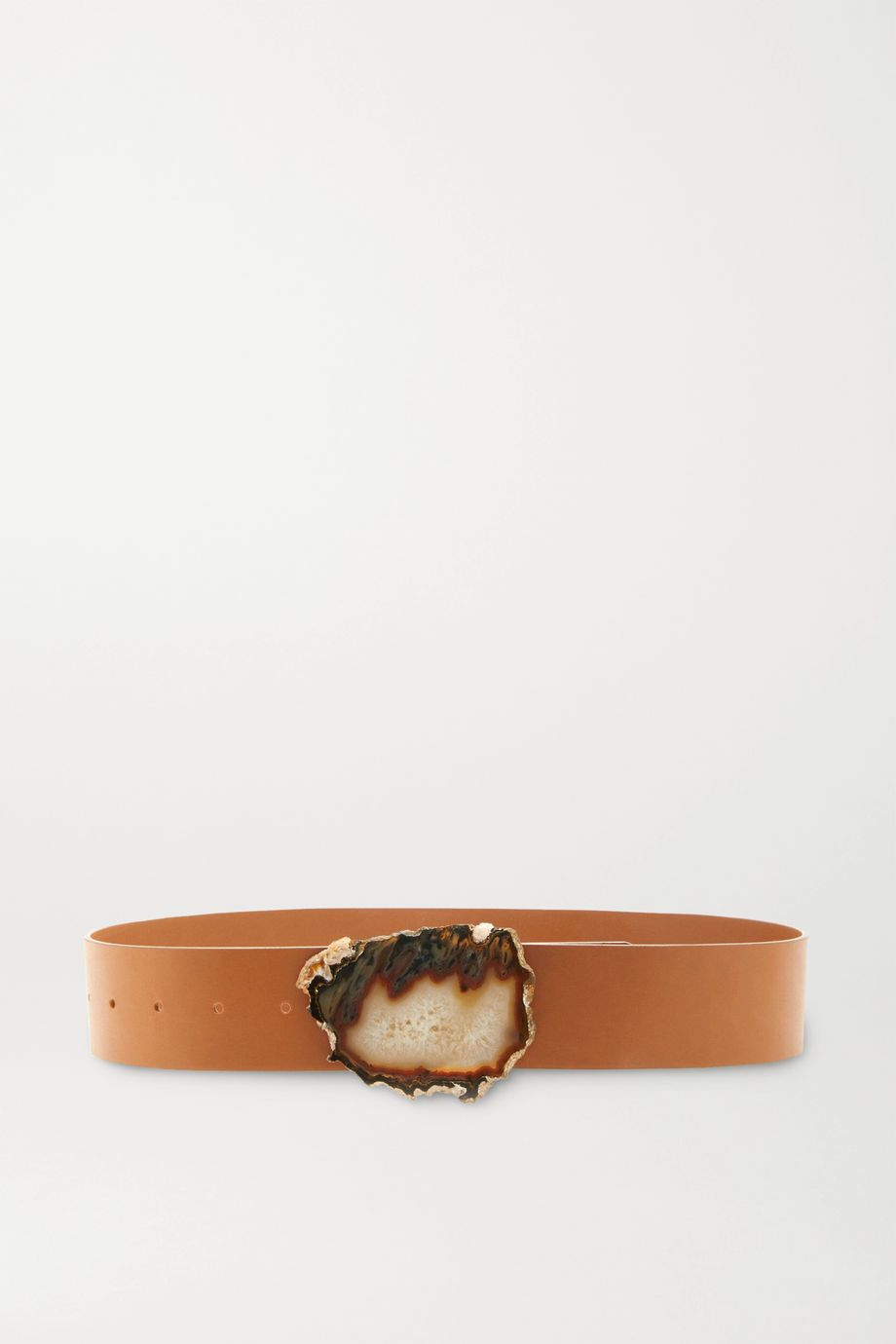 Gabriela Hearst Leather and agate belt