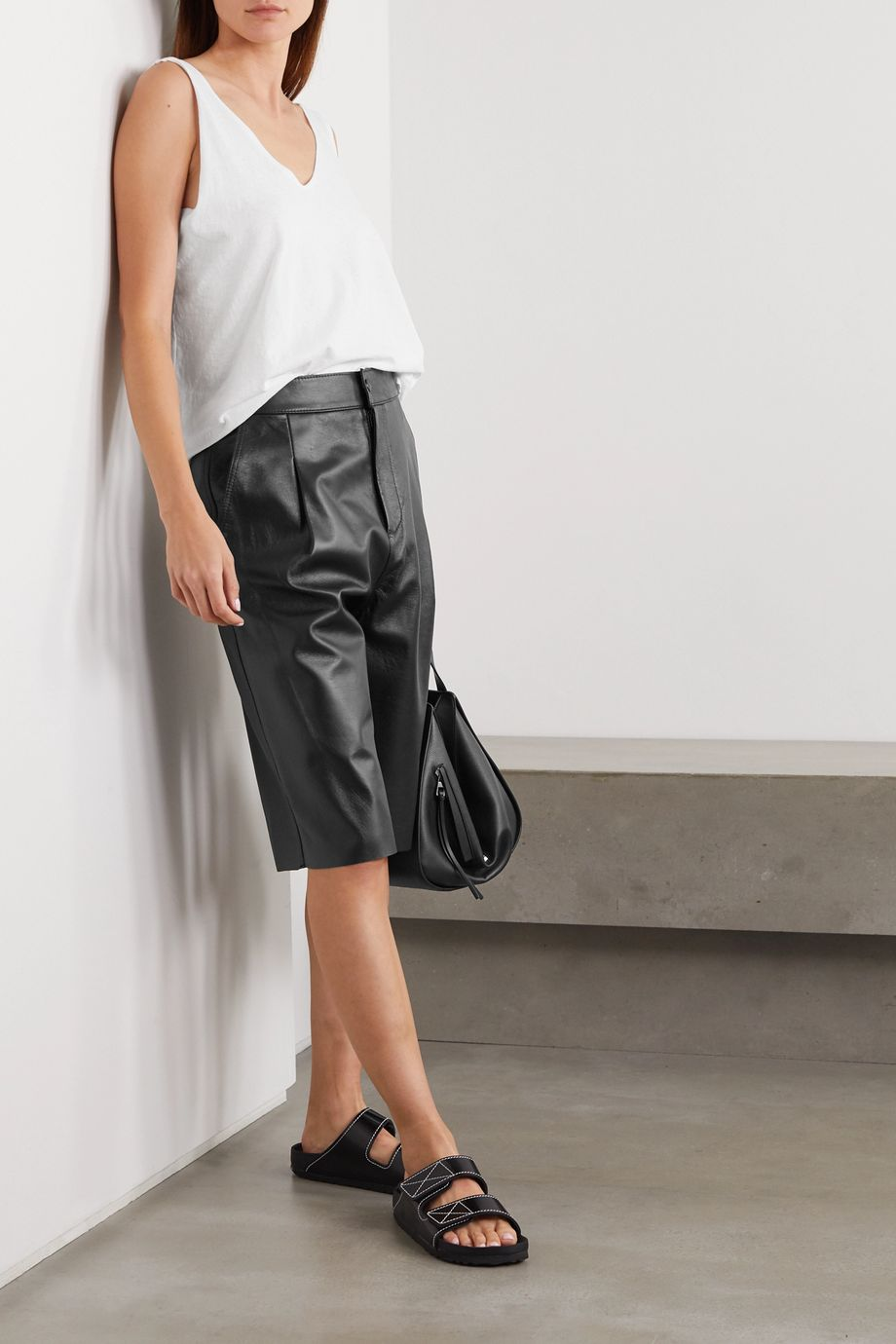 Bassike Pleated leather shorts
