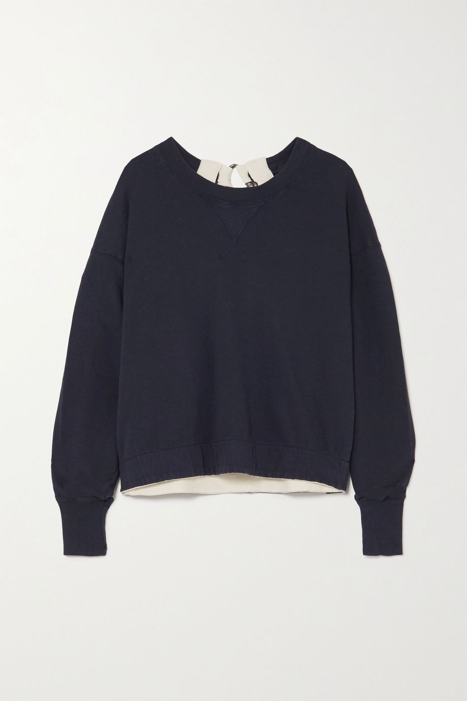 Bassike Buckle-detailed canvas-trimmed cotton-jersey sweatshirt
