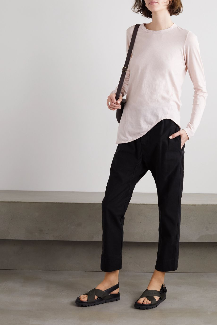 Bassike Asymmetric organic cotton-jersey T-shirt