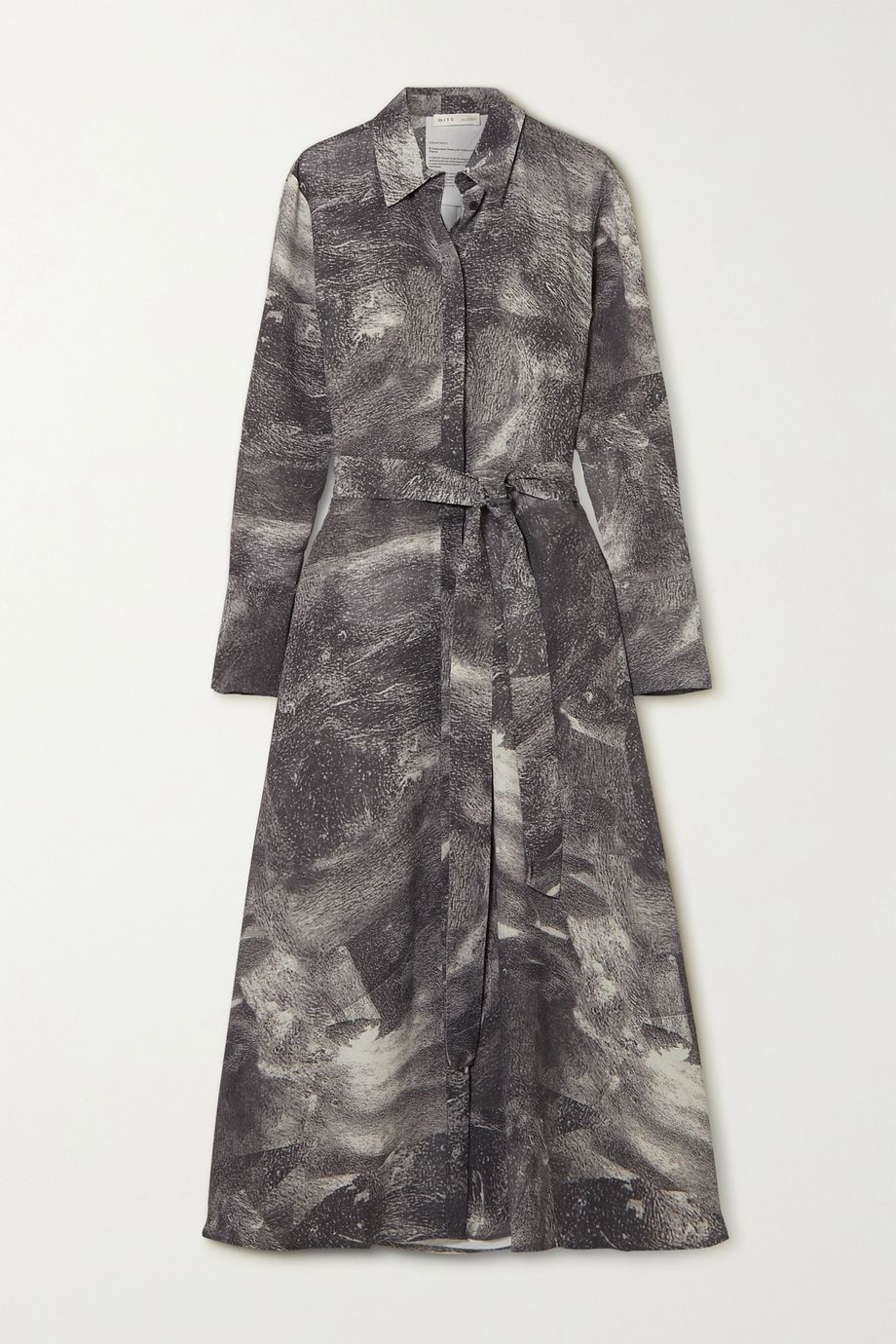 BITE Studios 配腰带印花双绉衬衫式连衣裙