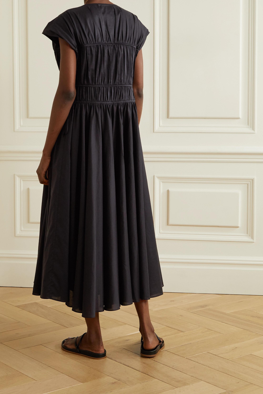 Black Ceres Gathered Organic Cotton-poplin Midi Dress   Tove