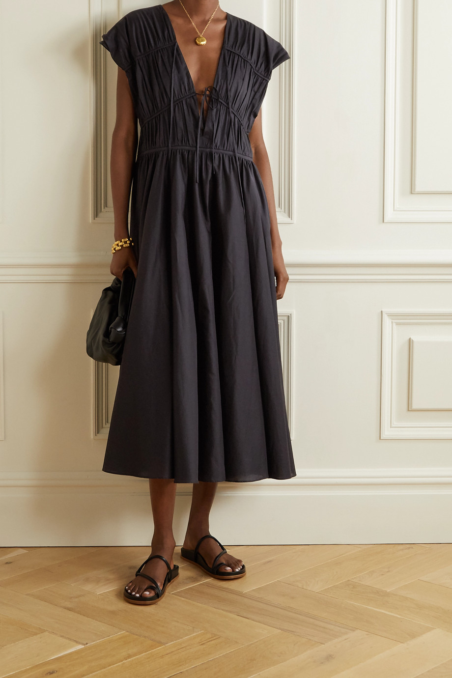 TOVE Ceres gathered organic cotton-poplin midi dress