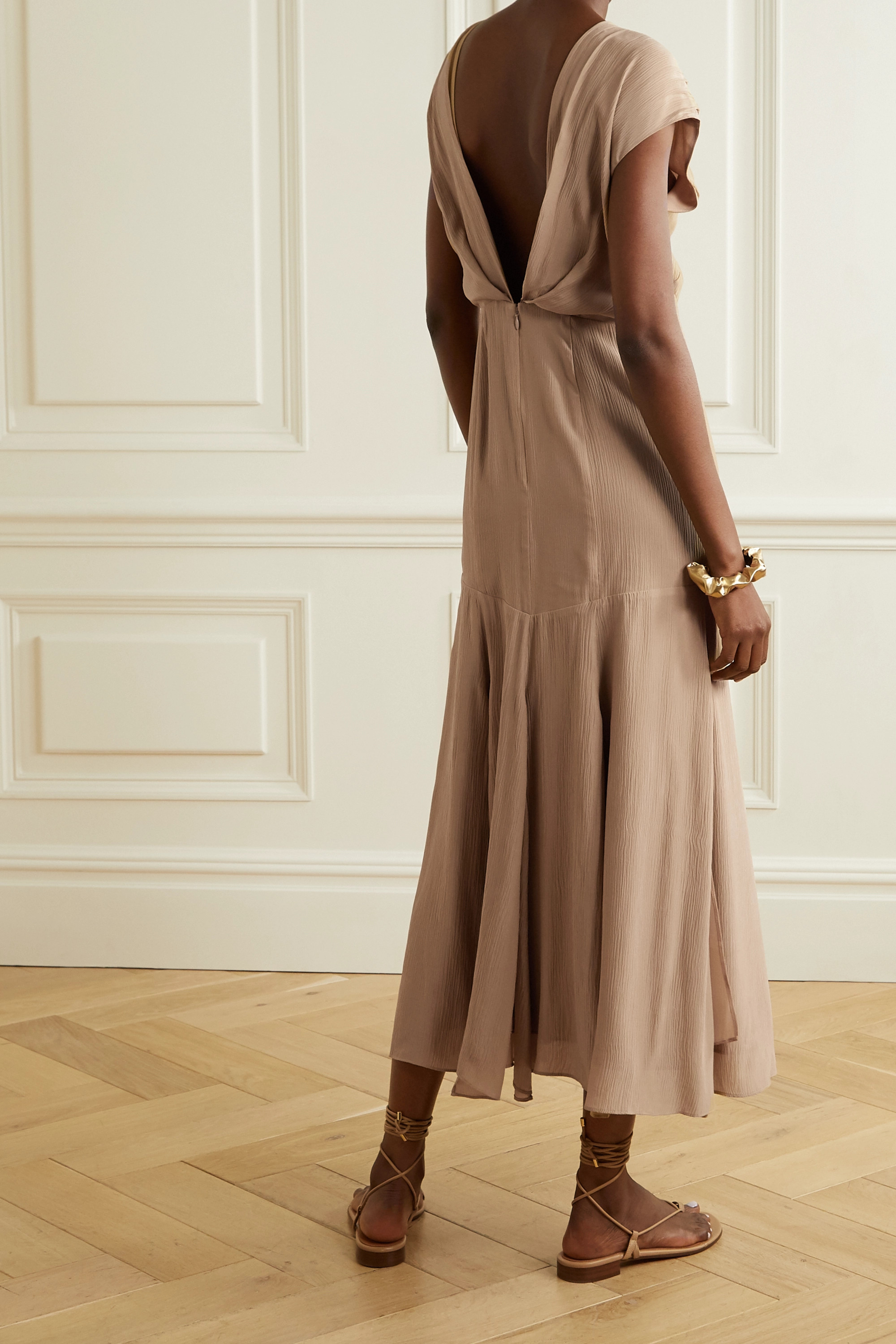 TOVE Elodie open-back silk-crepon midi dress