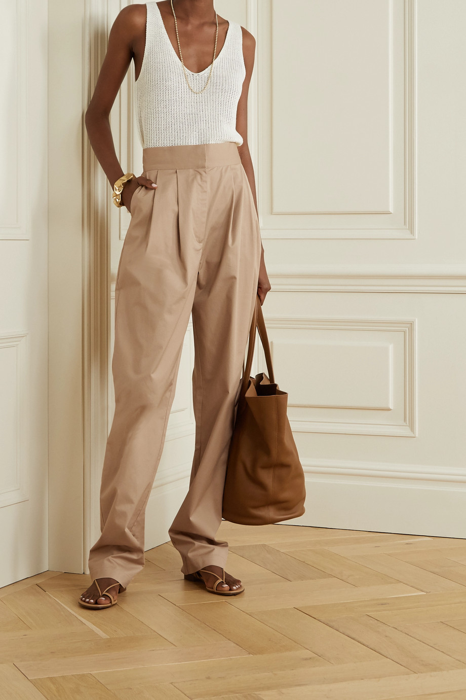 TOVE Lourdes stretch-cotton twill tapered pants