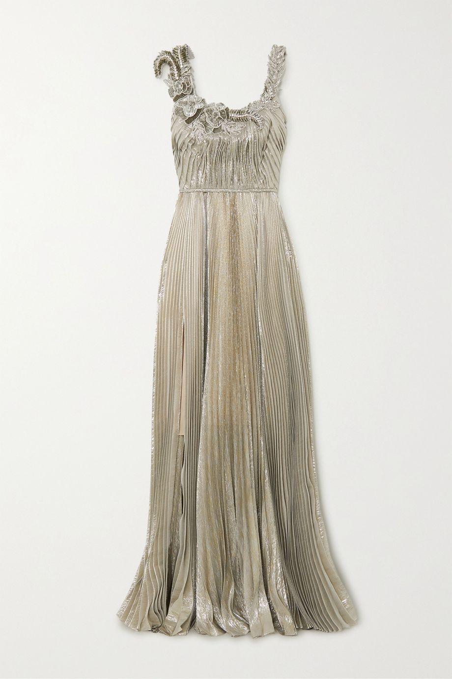 Oscar de la Renta Sequin-embellished pleated silk-blend lamé gown