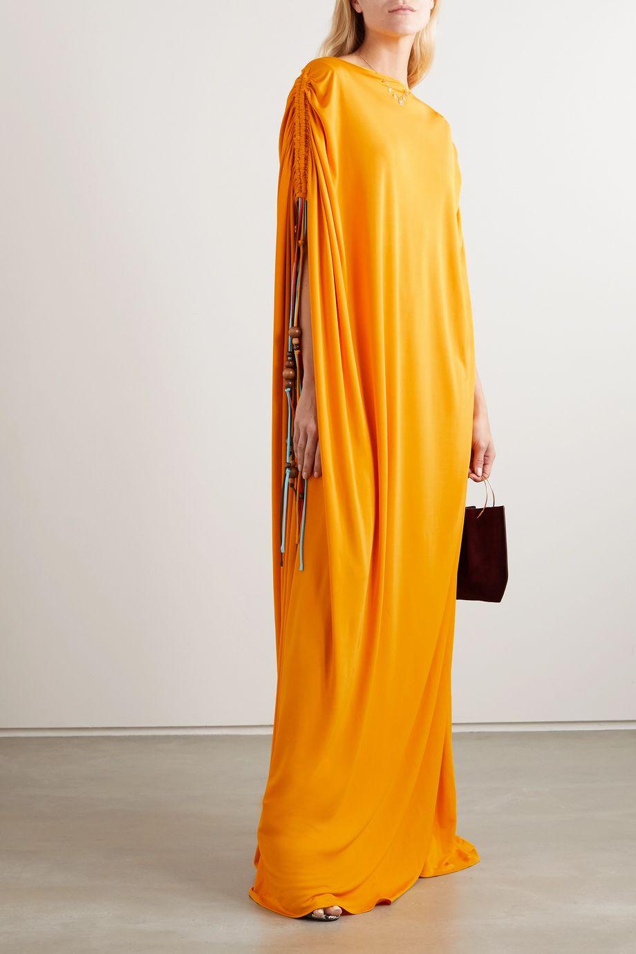 Oscar de la Renta Embellished georgette gown