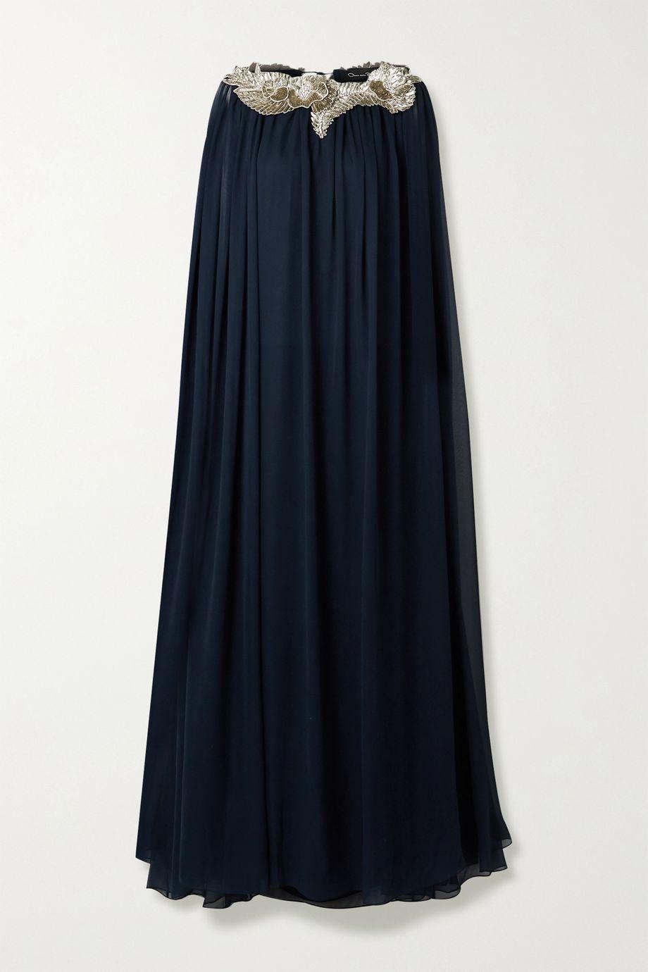 Oscar de la Renta Cape-effect embellished silk-chiffon gown