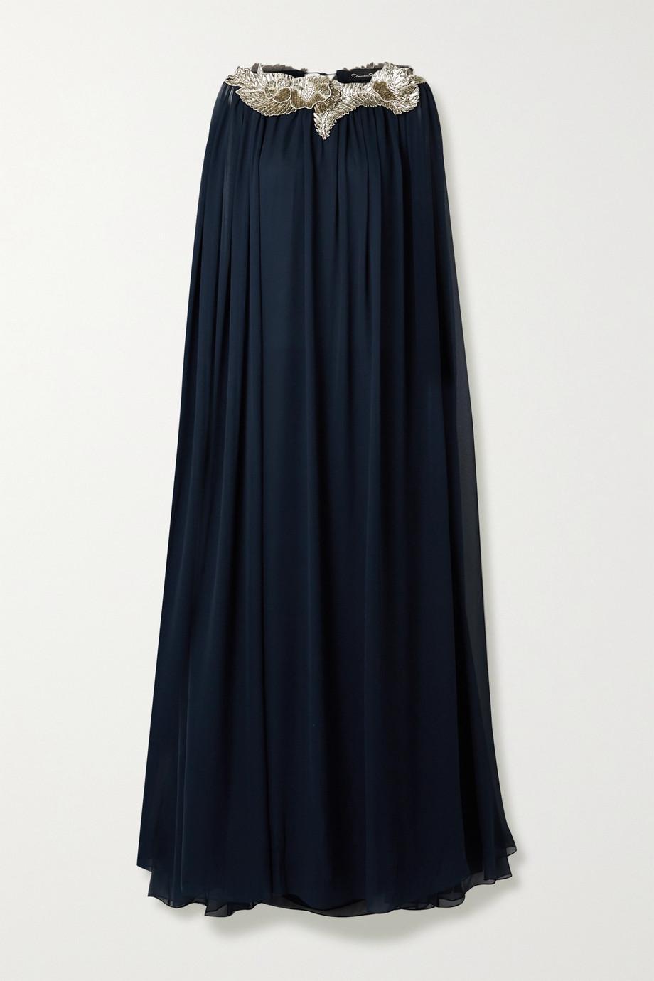 Oscar de la Renta | Cape-effect embellished silk-chiffon gown | NET-A-PORTER.COM