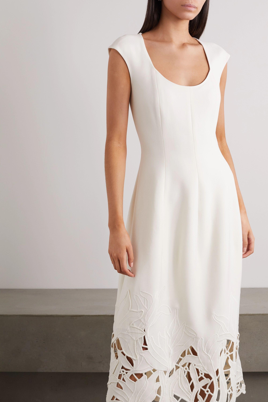 Oscar de la Renta Embroidered cutout wool-blend cady midi dress