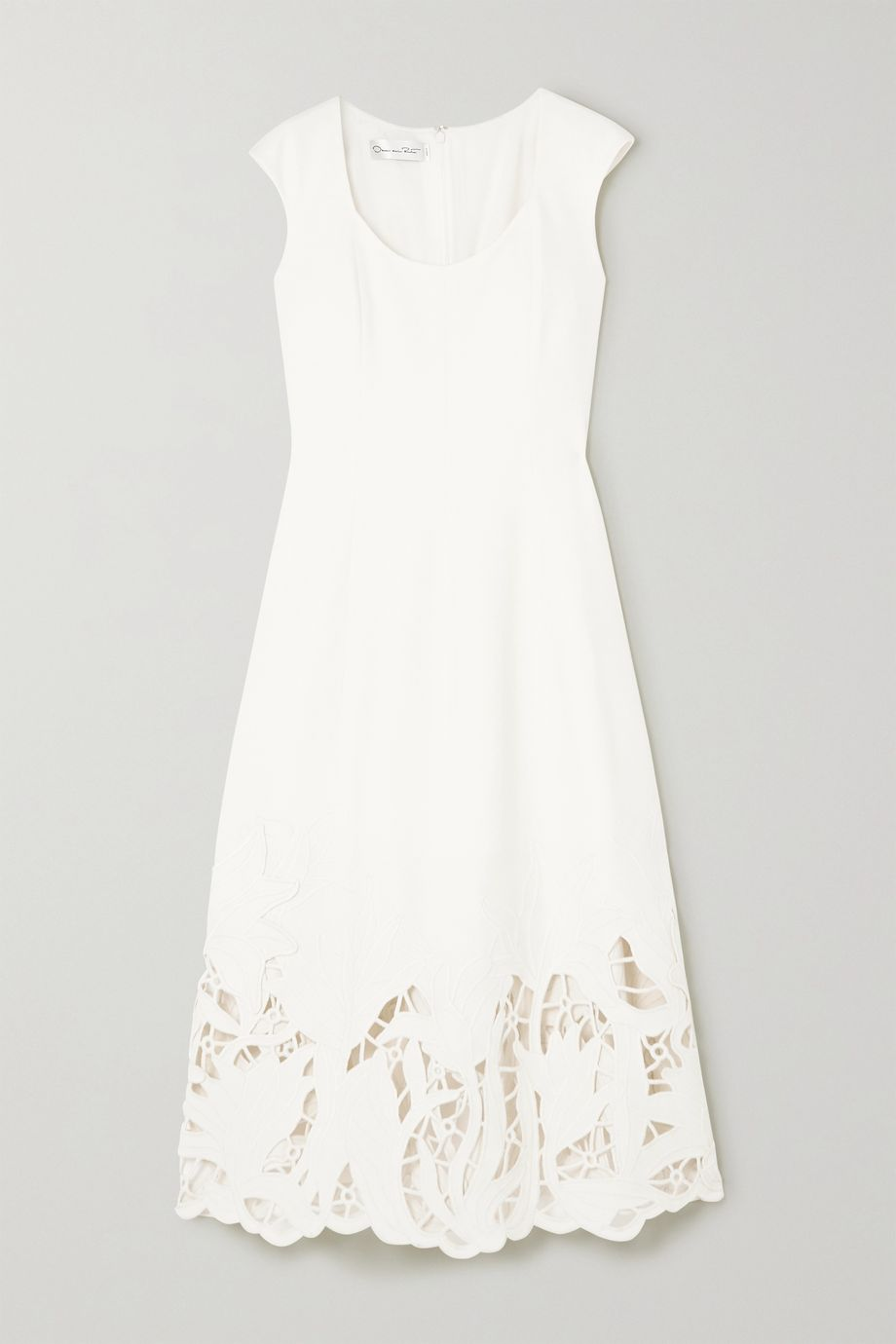 Oscar de la Renta Embroidered cutout wool-blend cady midi dress