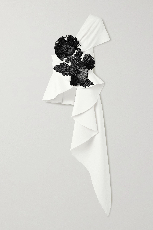 Oscar de la Renta One-shoulder draped embellished wool-blend top