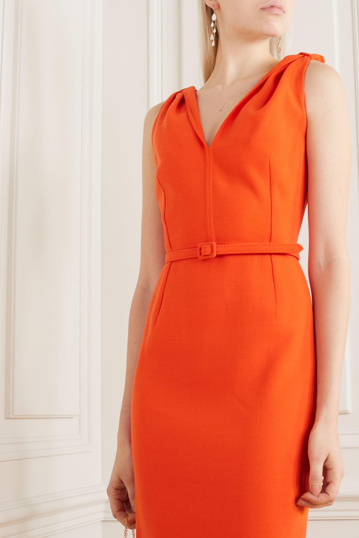Oscar de la Renta Belted wool-blend crepe midi dress