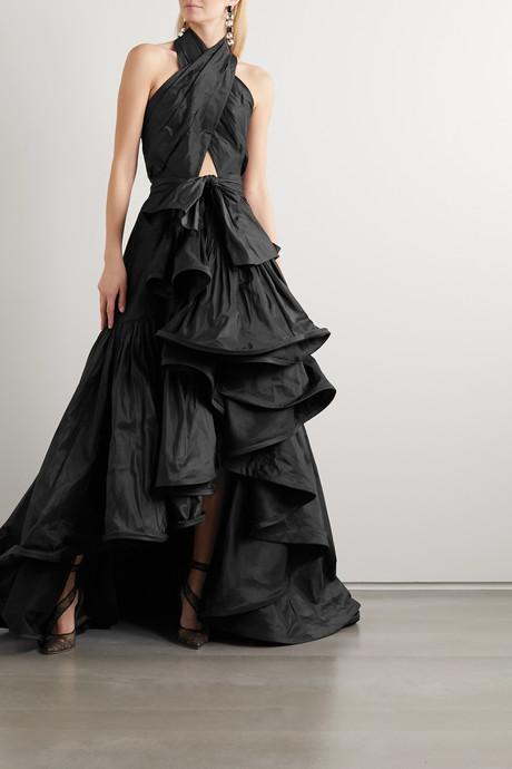 Asymmetric cutout silk-taffeta halterneck gown