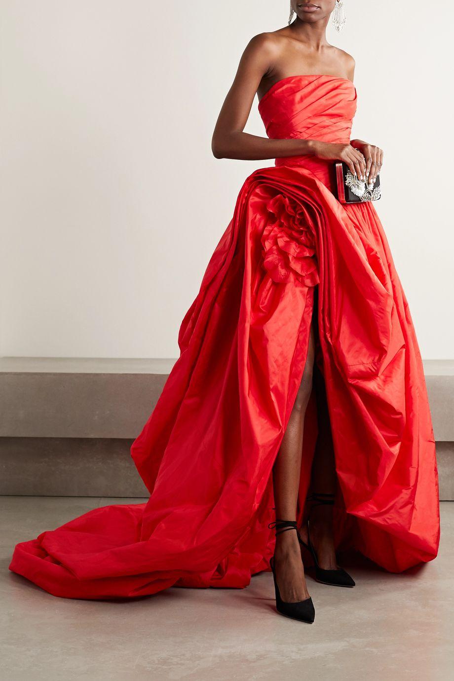 Oscar de la Renta Asymmetric gathered silk-taffeta gown