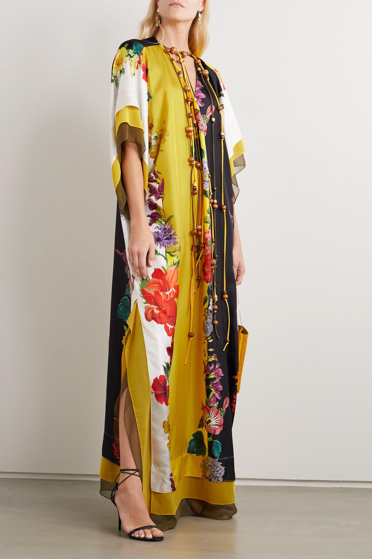 Oscar de la Renta Tie-detailed floral-print silk-satin gown