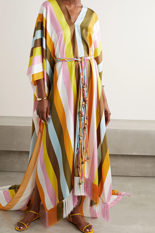 Oscar de la Renta Belted fringed striped silk-satin kaftan