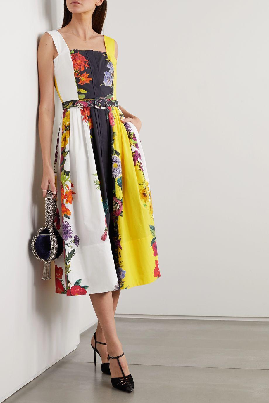 Oscar de la Renta Floral-print stretch-cotton poplin midi dress