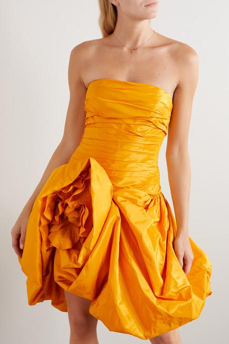 Strapless draped silk-taffeta mini dress