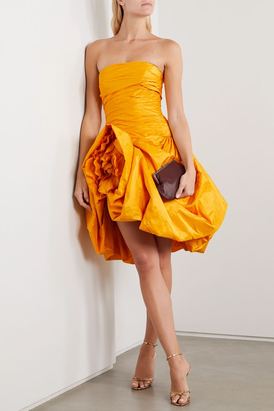 Oscar de la Renta Strapless draped silk-taffeta mini dress