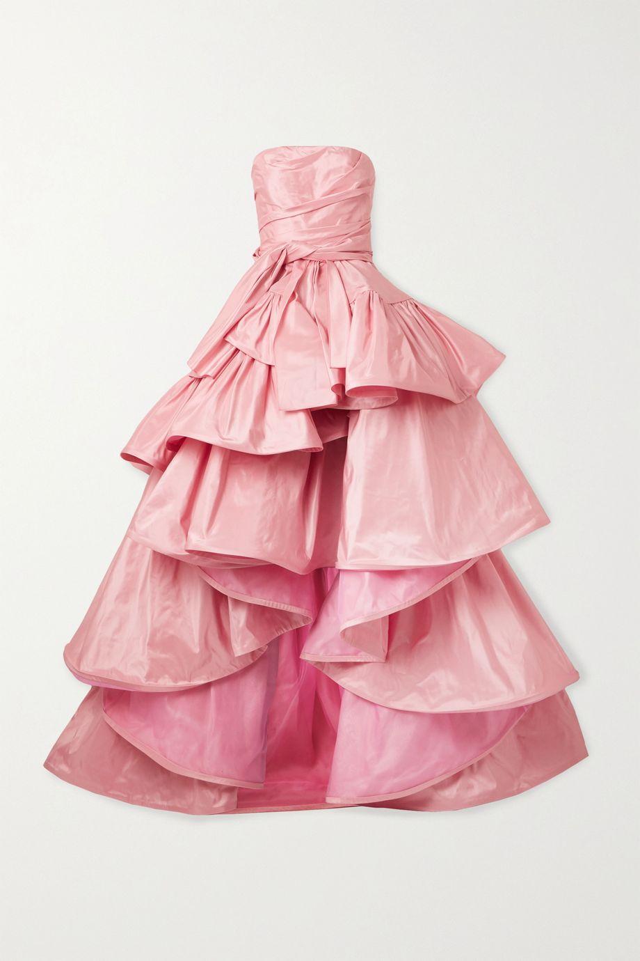 Oscar de la Renta Ruffled asymmetric silk-taffeta gown