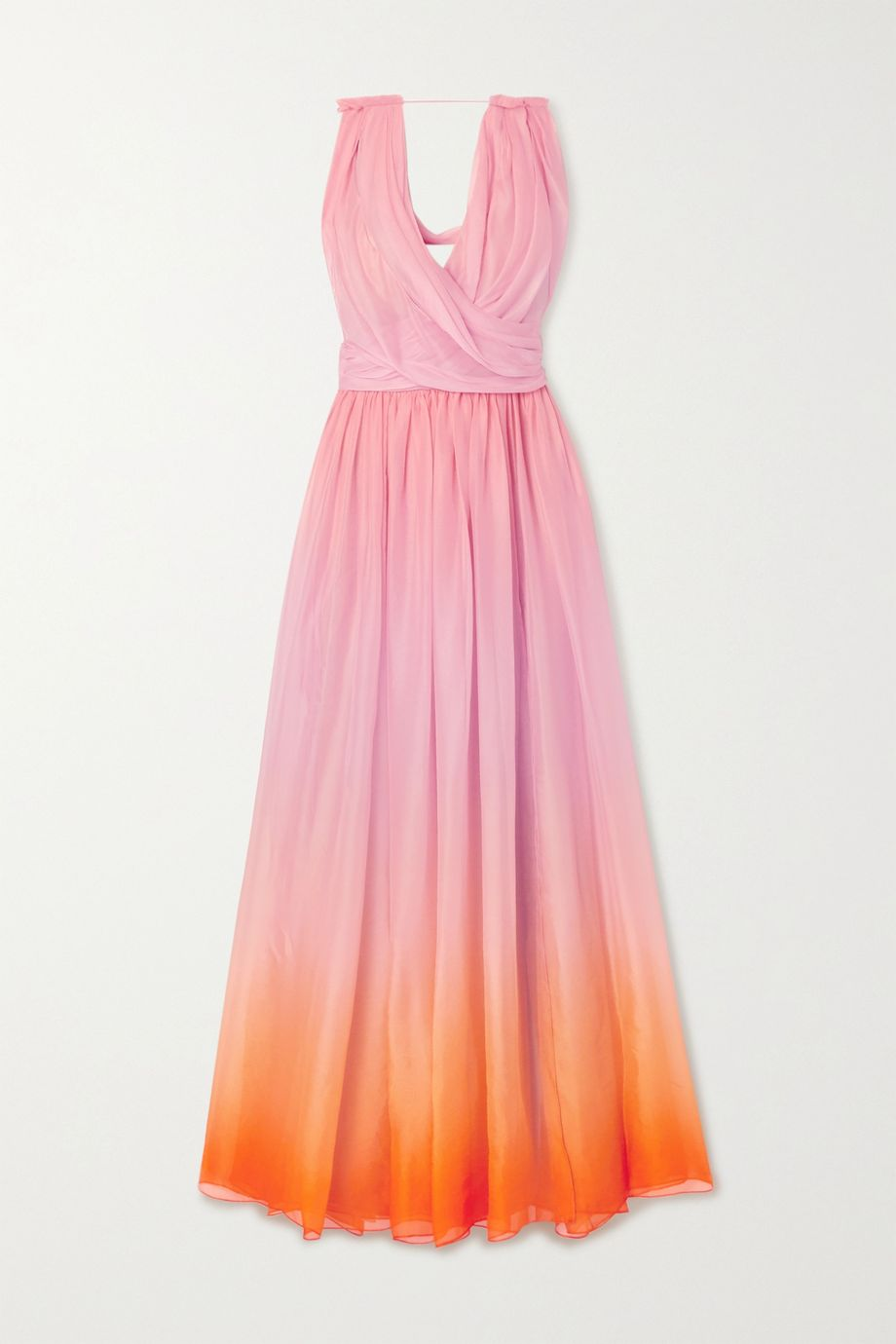 Oscar de la Renta Draped ombré silk-chiffon gown