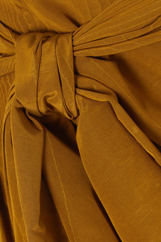 Oscar de la Renta Bow-detailed cotton-blend moire shorts