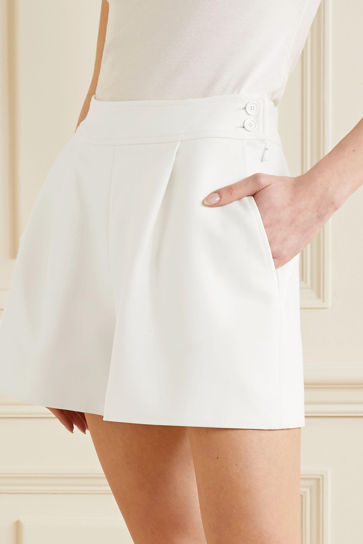 Oscar de la Renta Pleated wool-blend crepe shorts